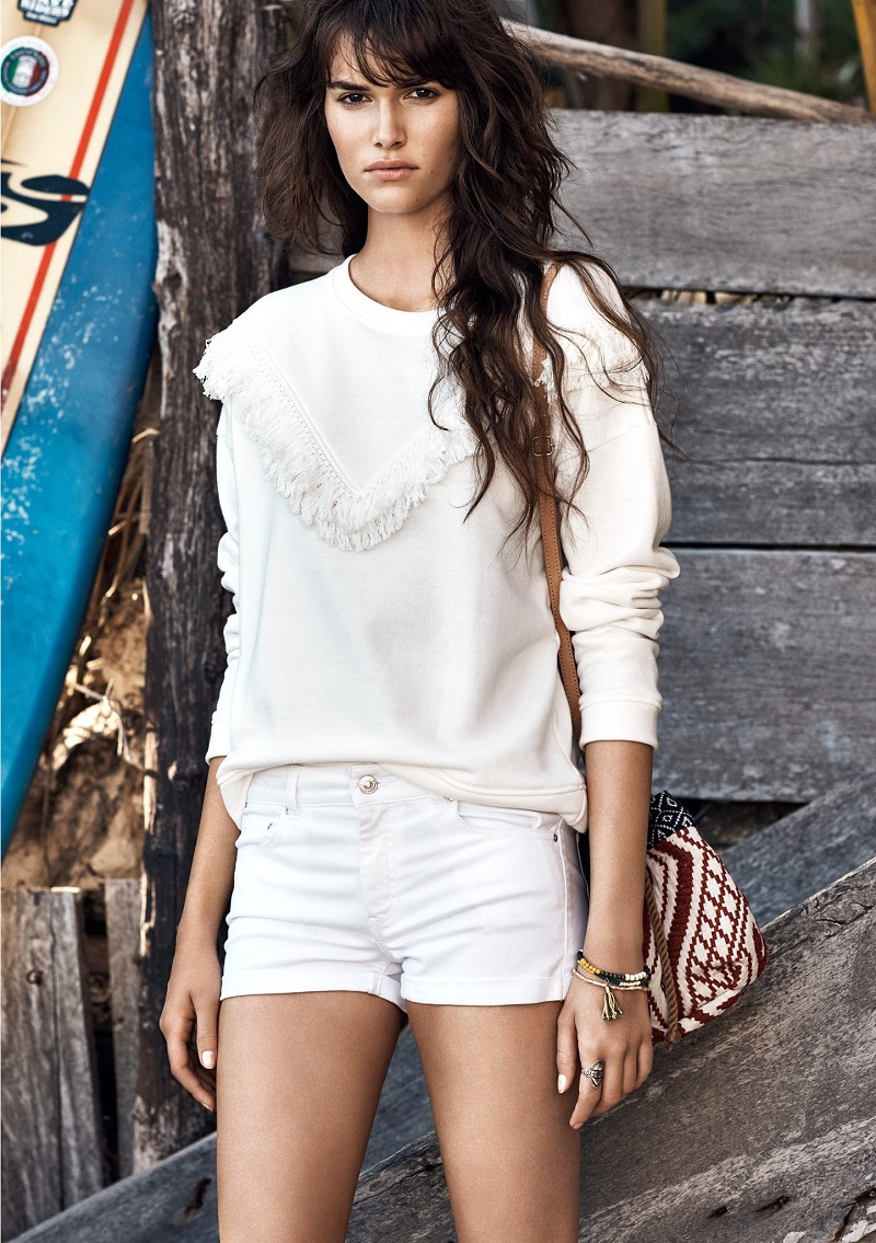 MANGO Fringed cotton-blend sweatshirt