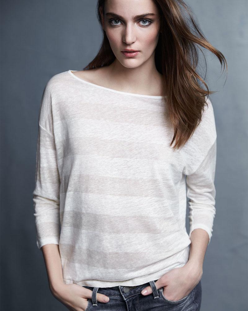 Majestic Paris for Neiman Marcus 3/4-Sleeve Striped Linen Top