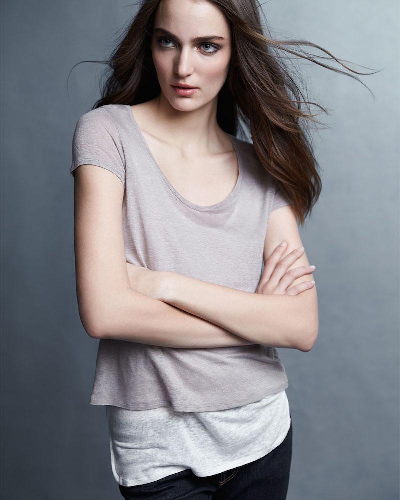 Majestic Paris for Neiman Marcus Linen Double-Layer Short-Sleeve Tee