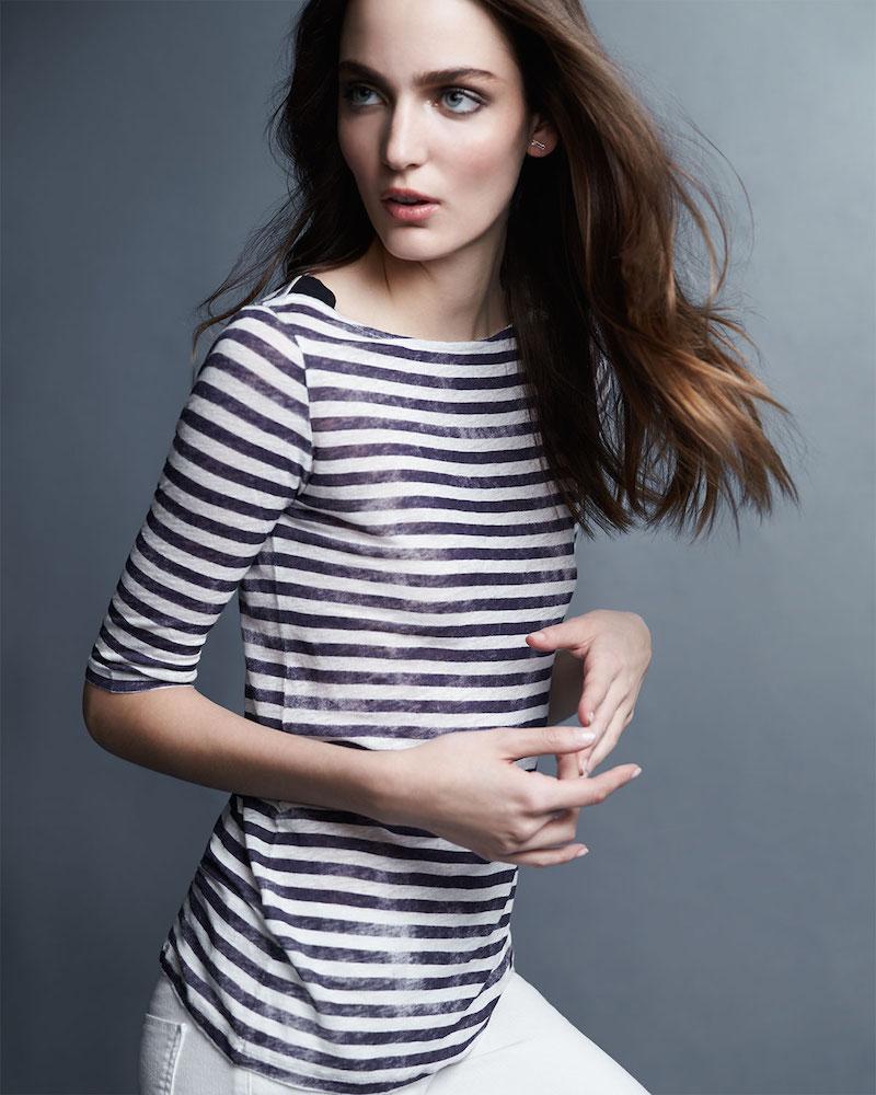 Majestic Paris for Neiman Marcus Striped Linen Half-Sleeve Top