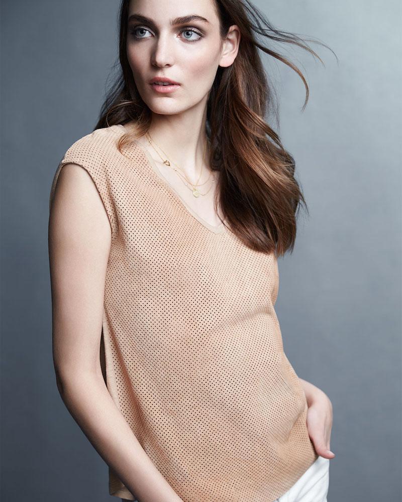 Majestic Paris for Neiman Marcus Suede-Cotton Combo Top