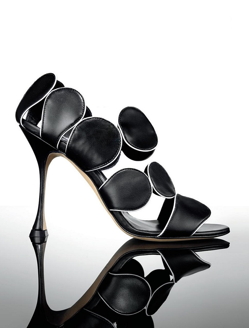 Manolo Blahnik Leather Circle Sandals