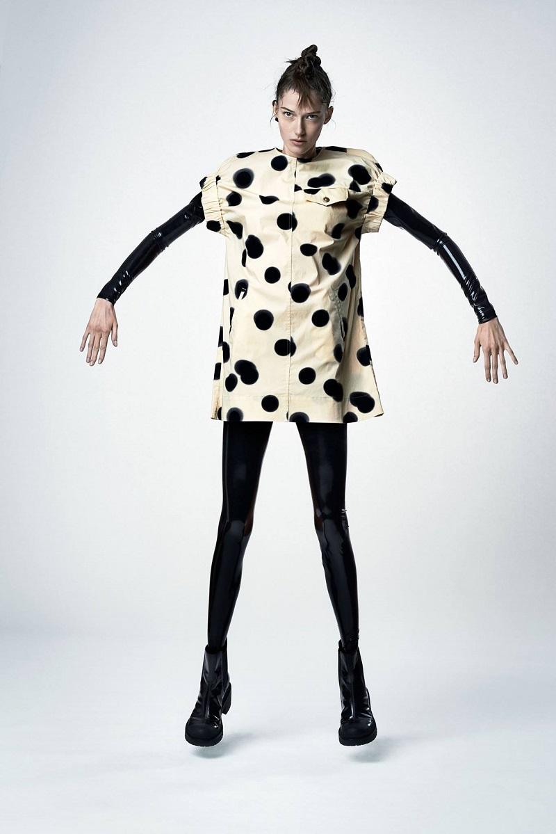Marc Jacobs Blurred Dot Stretch Poplin Utility Pocket Shift Dress