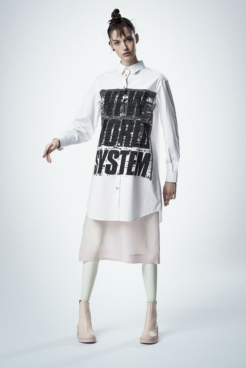 Marc Jacobs Stretch Poplin Button Up Graphic Dress_