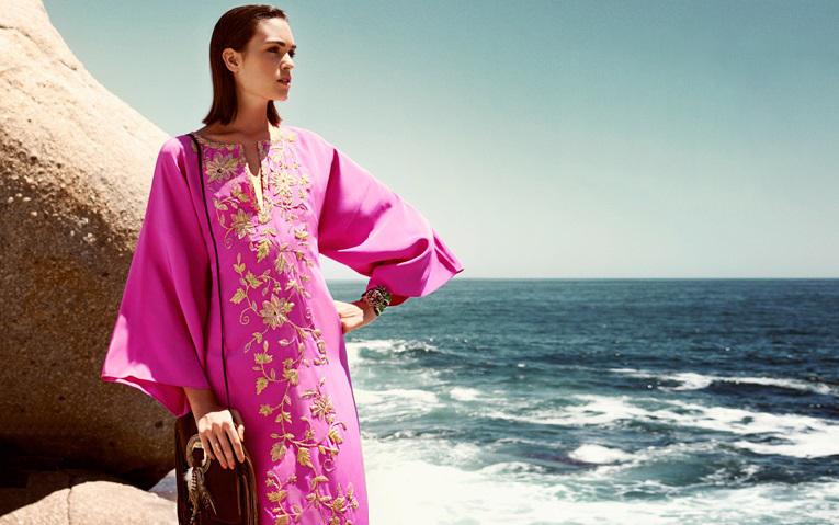 Oscar De La Renta Embellished silk kaftan