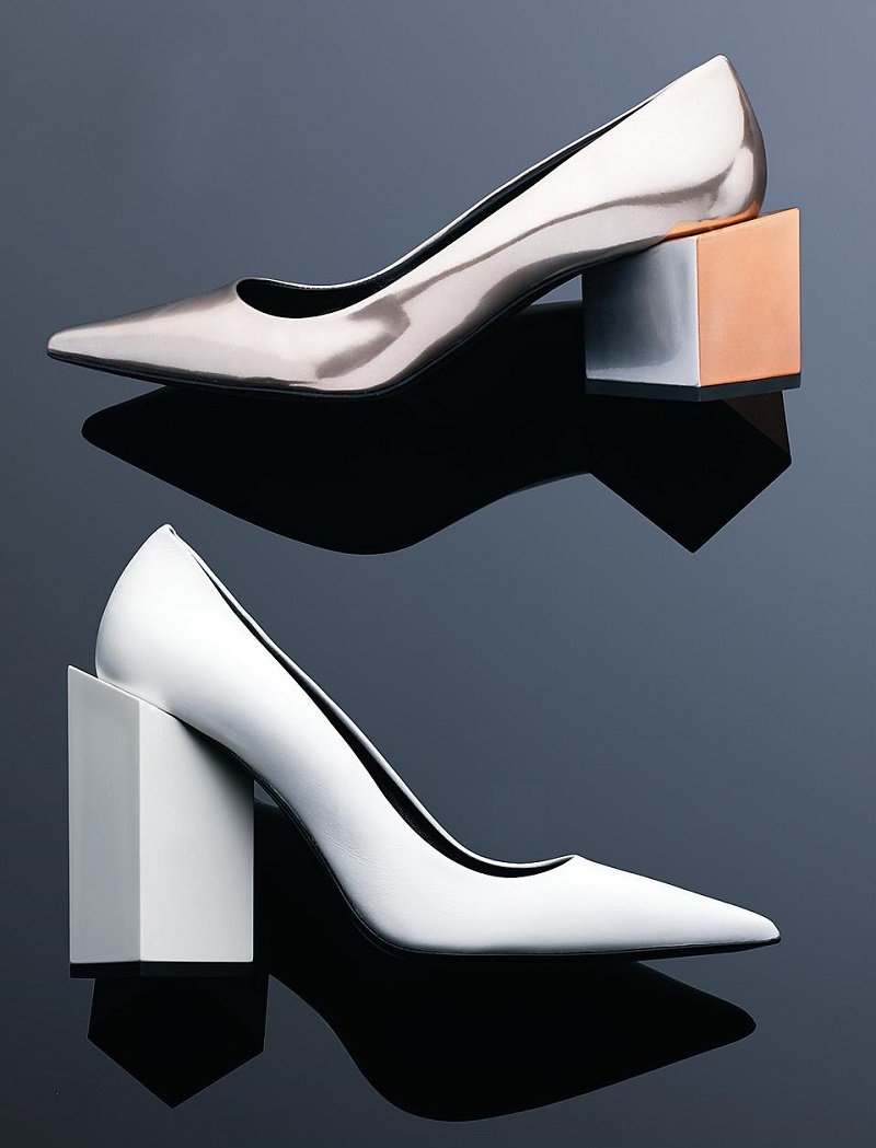 Pierre Hardy Block-Heeled Metallic Leather Pumps