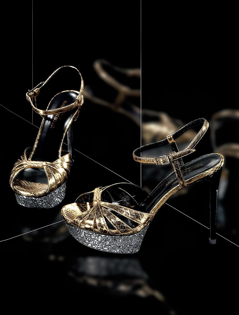 Saint Laurent Glittered Platform Metallic Snakeskin Sandals