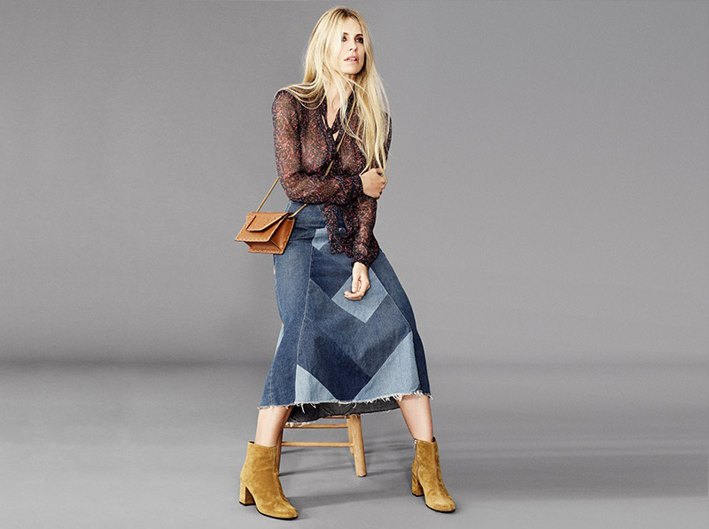 Saint Laurent Patchwork denim maxi skirt