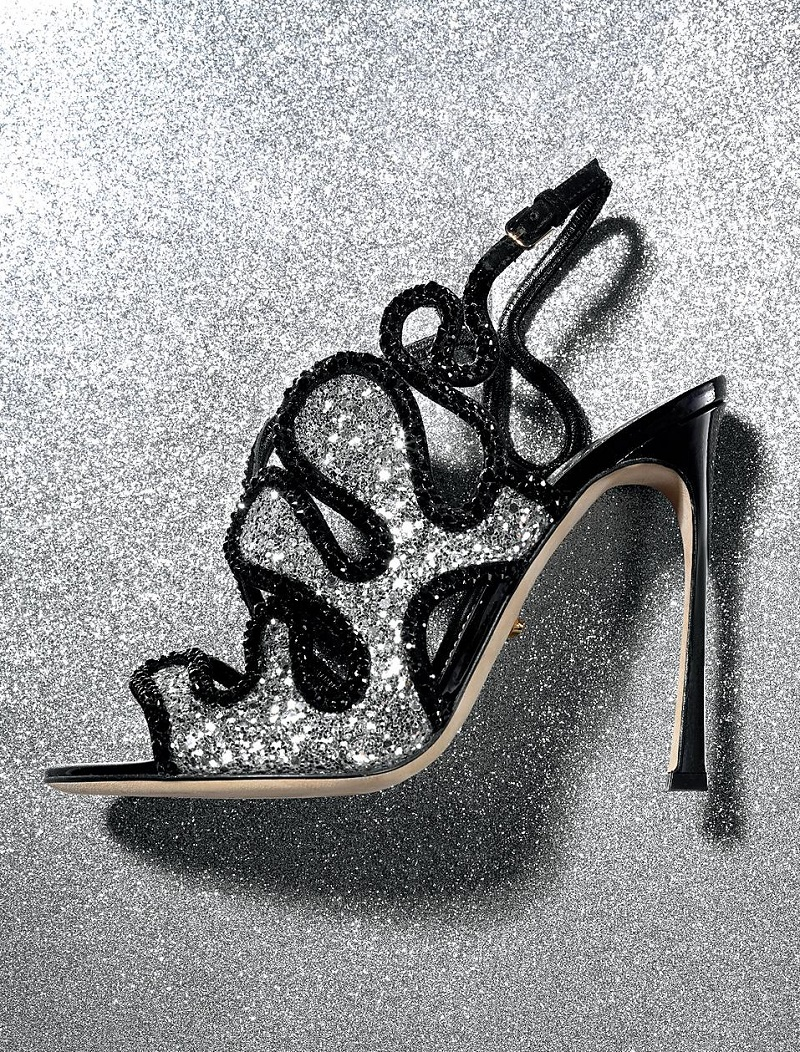 Sergio Rossi Crystal & Glittered Leather Abstract Sandals