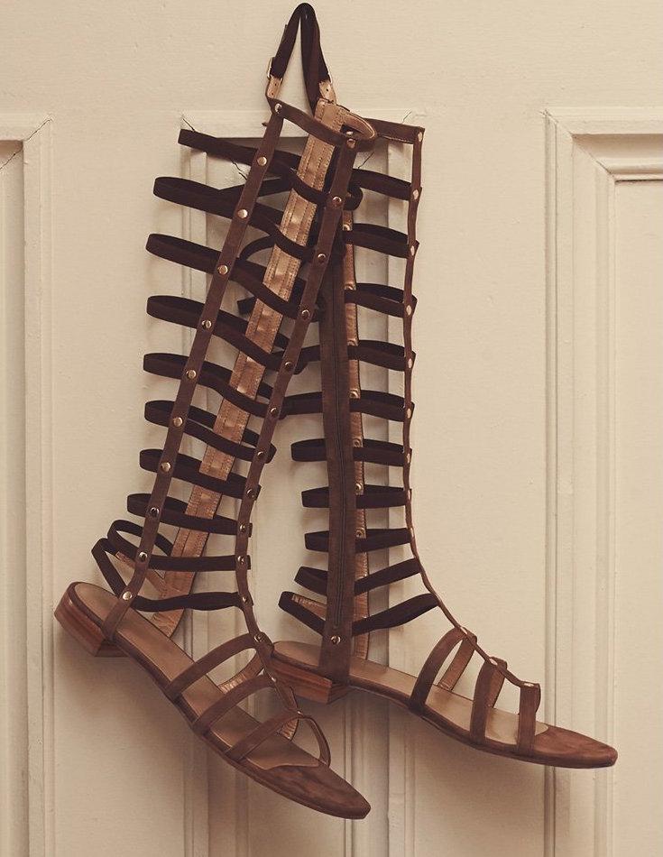 Stuart Weitzman Gladiator Tall Suede Sandals