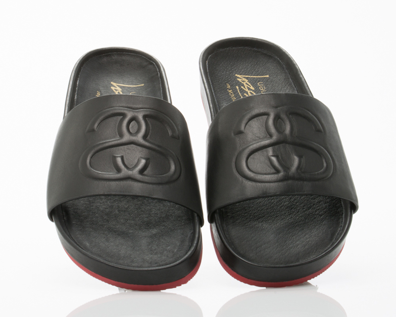 Stussy X Solestruck Link Slide Sandals in Black