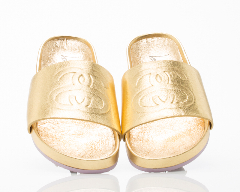 Stussy X Solestruck Link Slide Sandals in Gold