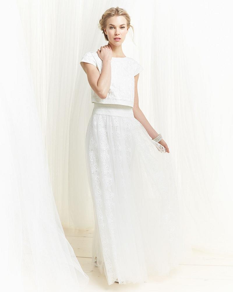 Tadashi Shoji Cap-Sleeve Lace Popover Gown