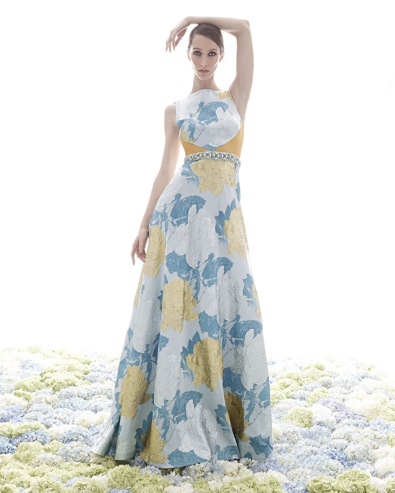 Theia Floral Brocade Gown