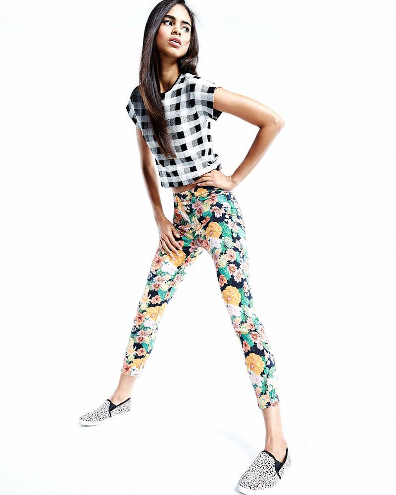 7 For All Mankind Cropped Floral-Tropics-Print Skinny Jeans