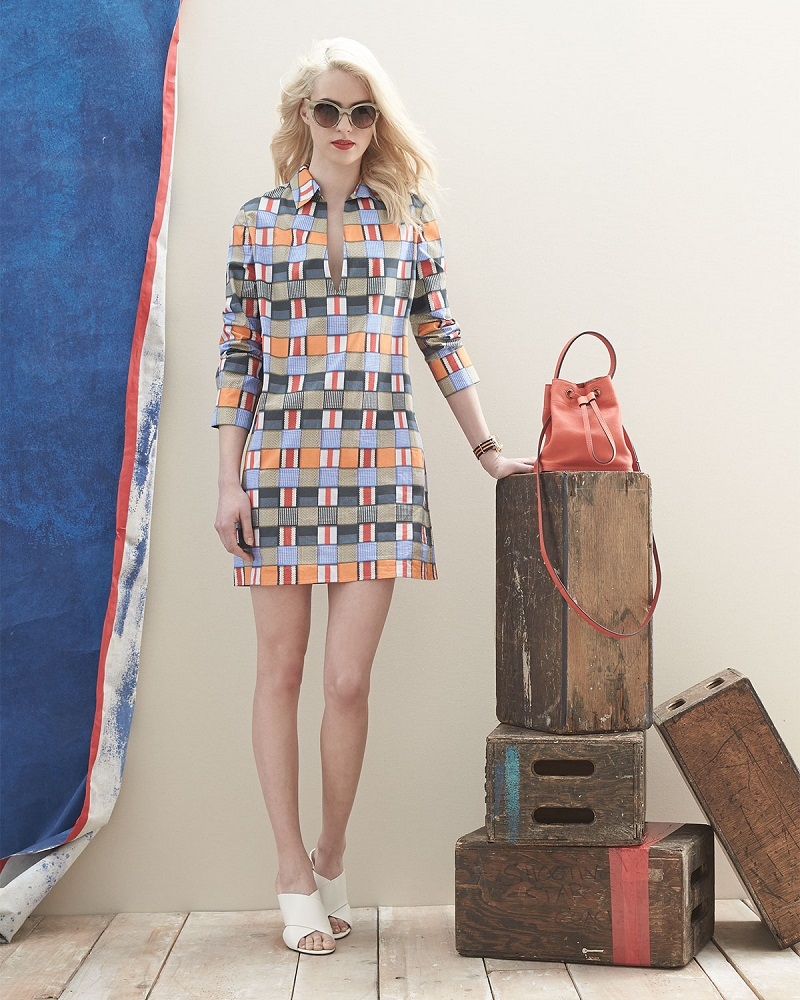 Tory Burch Long-Sleeve Geometric-Print Dress
