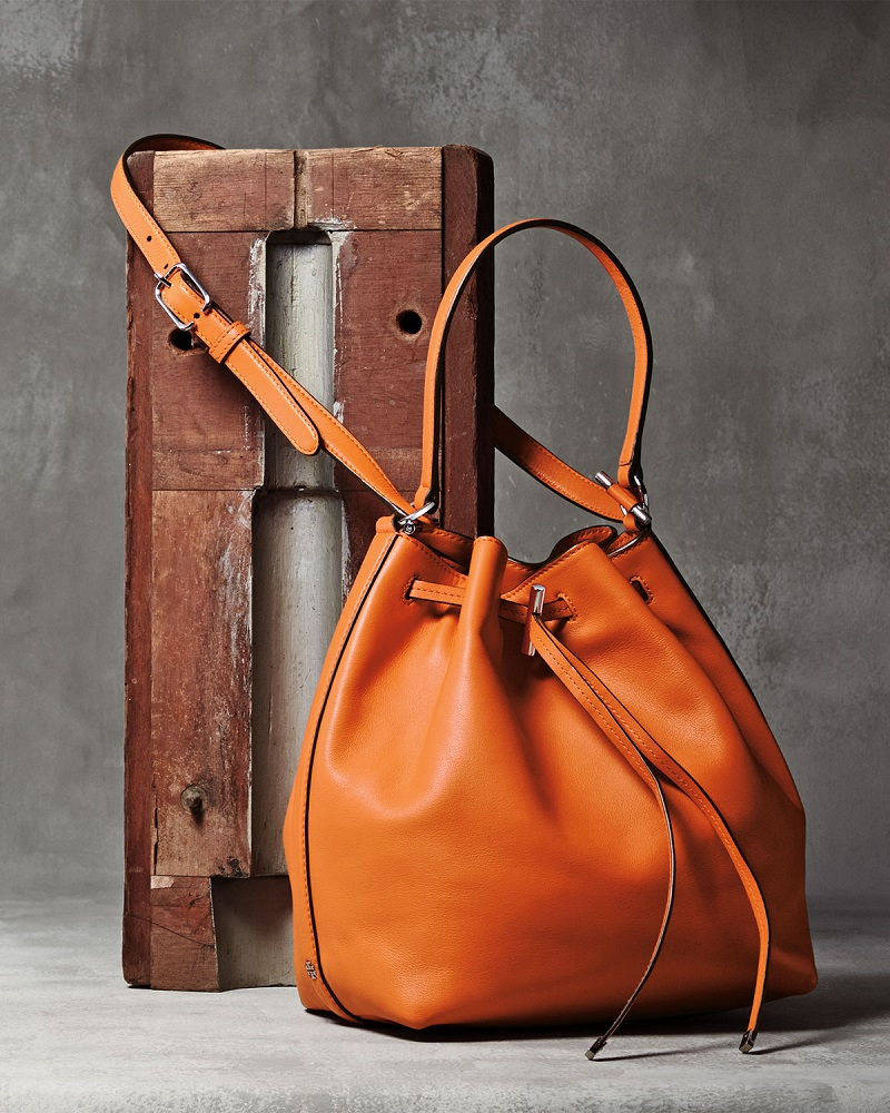 Tory Burch Toggle Drawstring Leather Bucket Bag