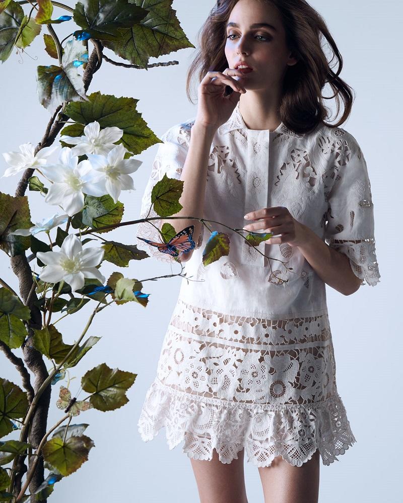 Valentino Battenberg Lace Scalloped Tunic-Dress
