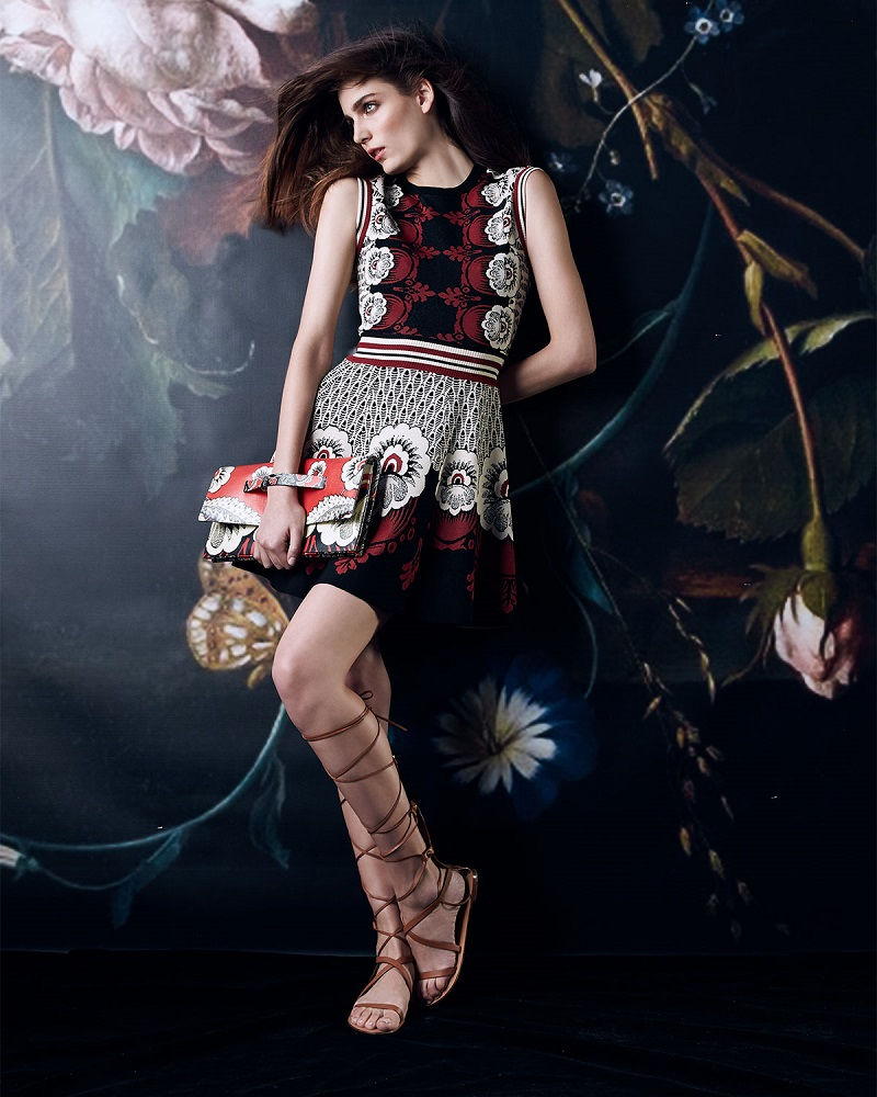 Valentino Mixed Floral-Print Fit-And-Flare Dress