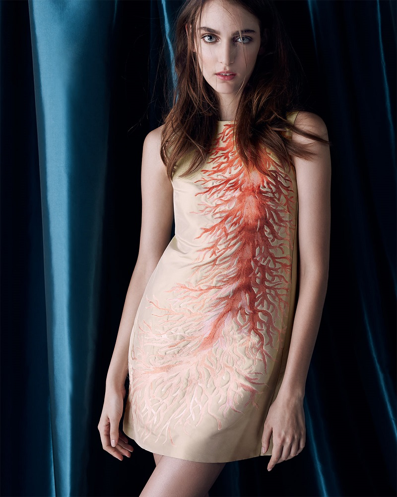 Valentino Sleeveless Coral Intarsia A-Line Dress
