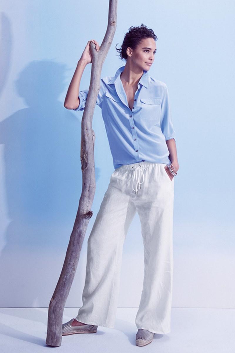 Vince Camuto Drawstring Waist Wide Leg Linen Pants