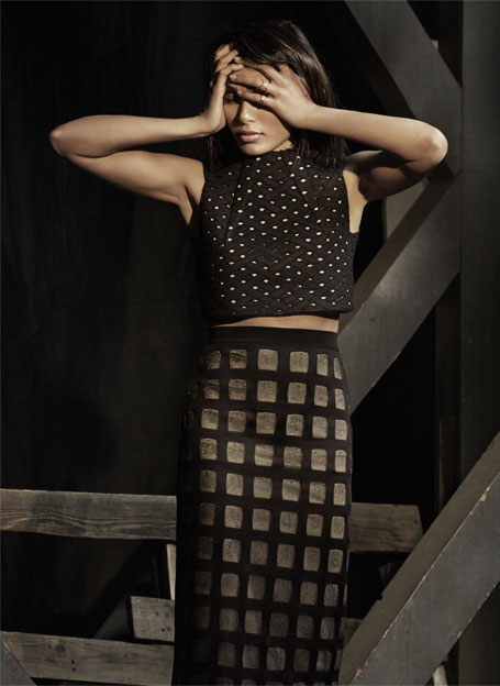 Balmain Open-knit Pencil Skirt