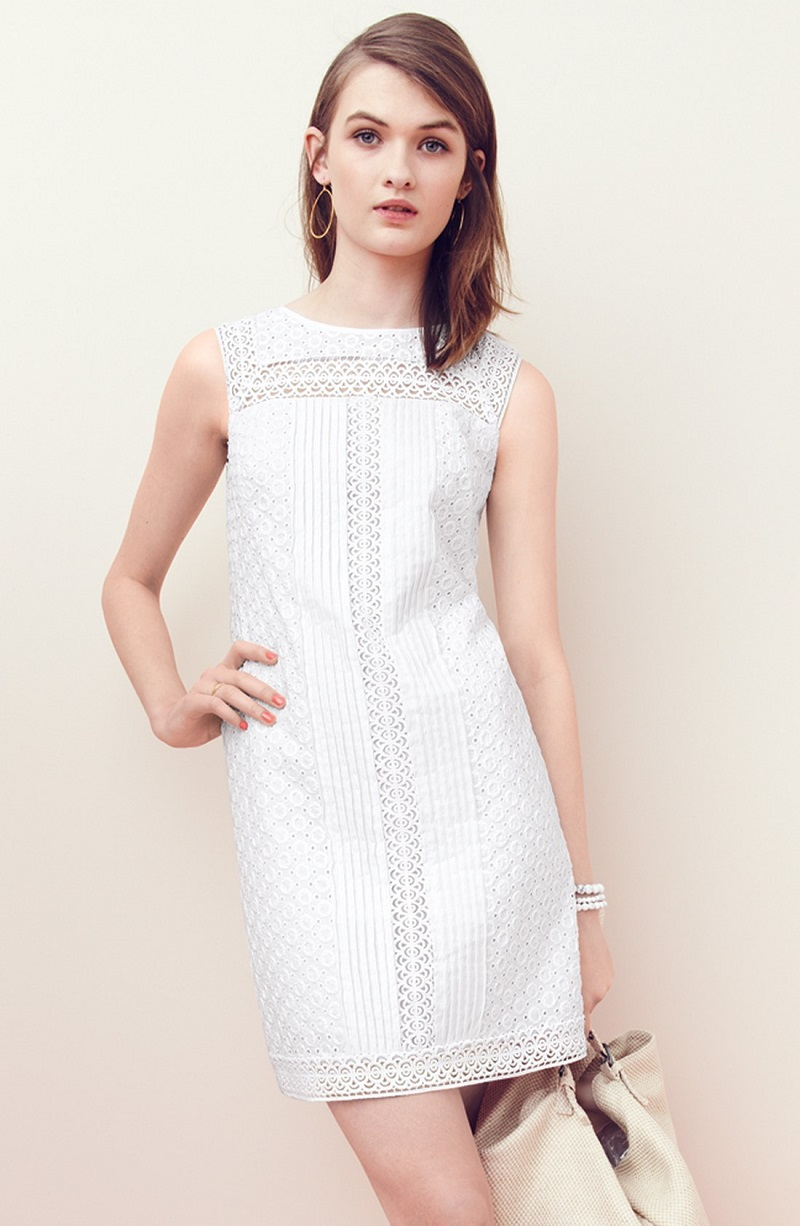 Adrianna Papell Mixed Lace Cotton Shift Dress