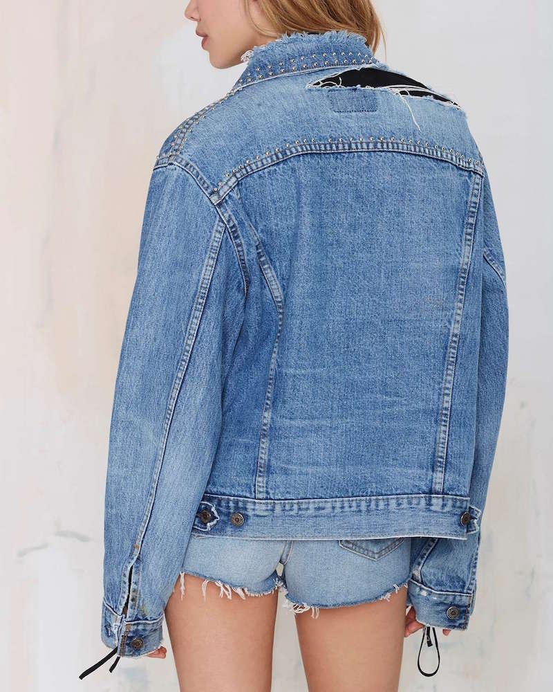 After Party Vintage Total Stud Denim Studded Jacket