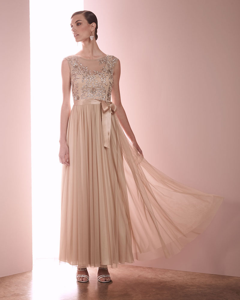 Aidan Mattox Embellished Tulle Cap-Sleeve Gown