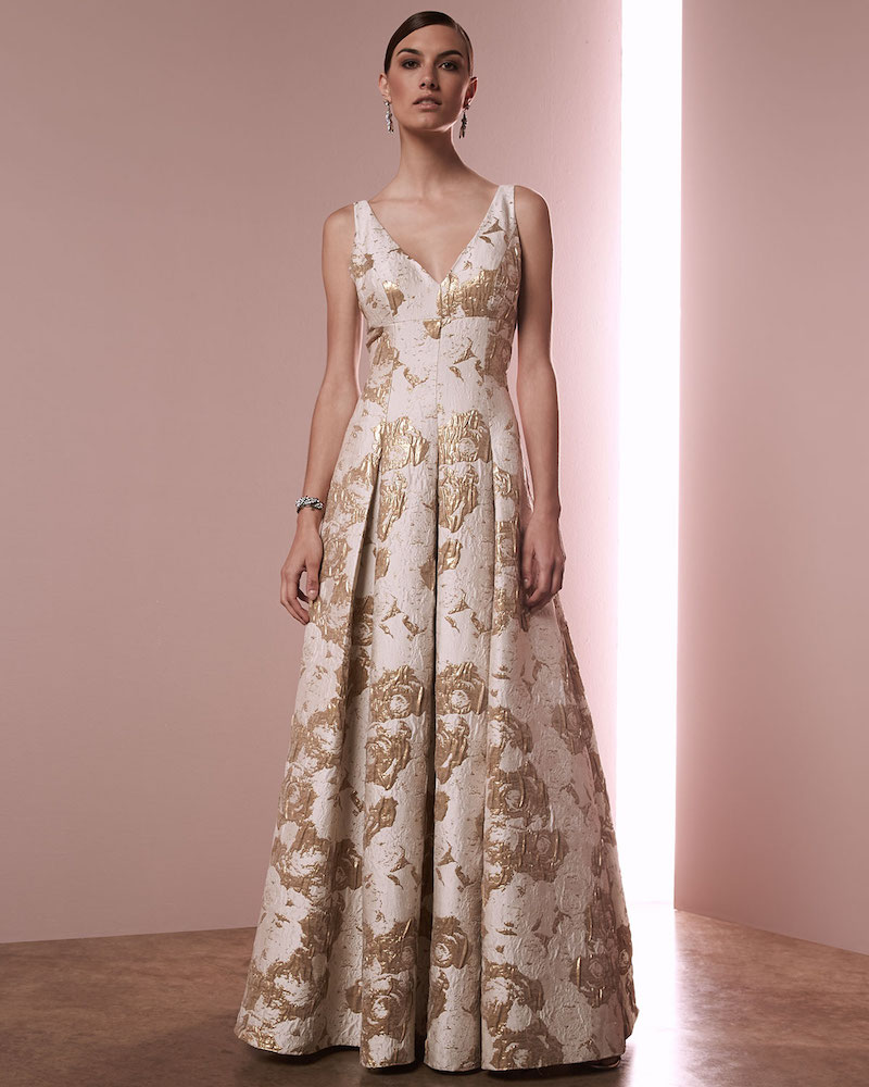 Aidan Mattox Sleeveless Floral Jacquard Gown