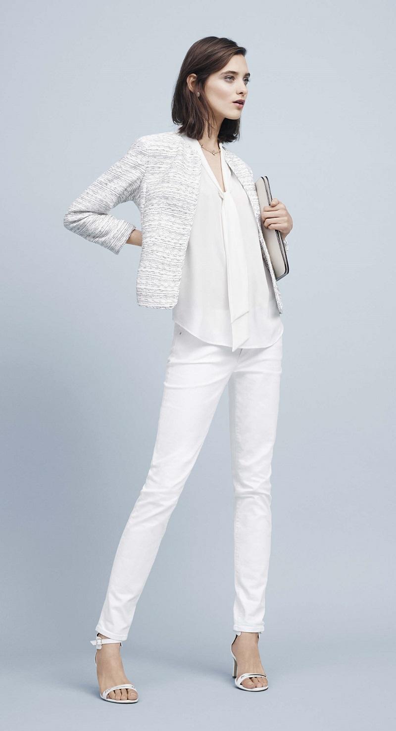Ann Taylor Collarless Tweed Jacket