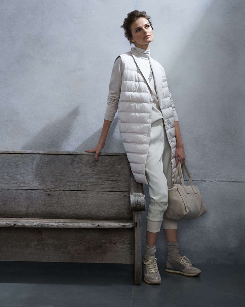 Brunello Cucinelli Silk Sleeveless Puffer Jacket