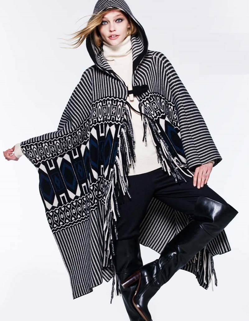 Chloe Cashmere-Blend Hooded Geometric-Print Fringe Cape