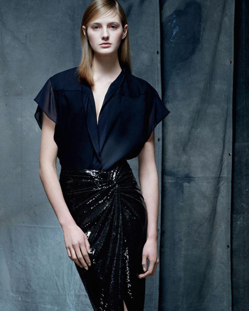 Donna Karan Cap-Sleeve Crepe Georgette Button Blouse