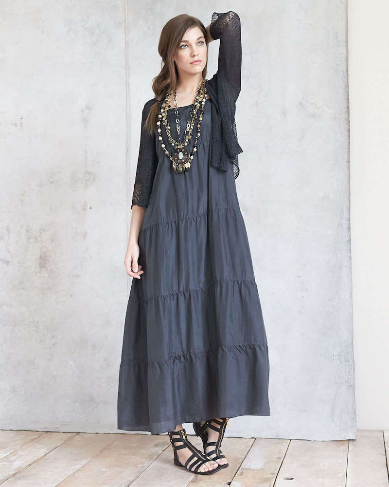 Eileen Fisher Silk Tiered Maxi Sundress
