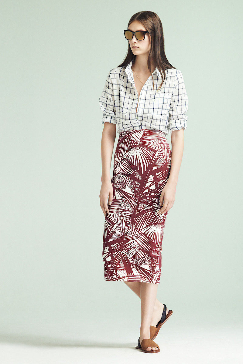 Elizabeth and James Aisling Palm-print Pencil Skirt