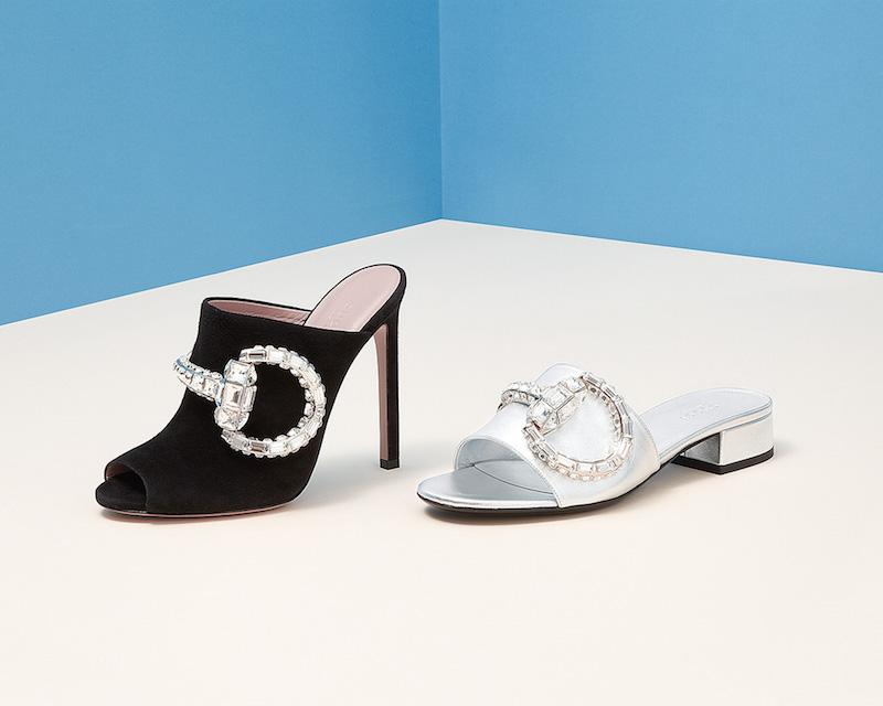 Gucci Maxime Crystal Horsebit Suede Sandals