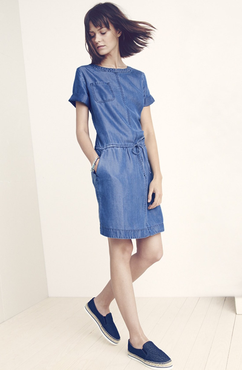 Halogen Drawstring Waist Tencel Chambray Dress