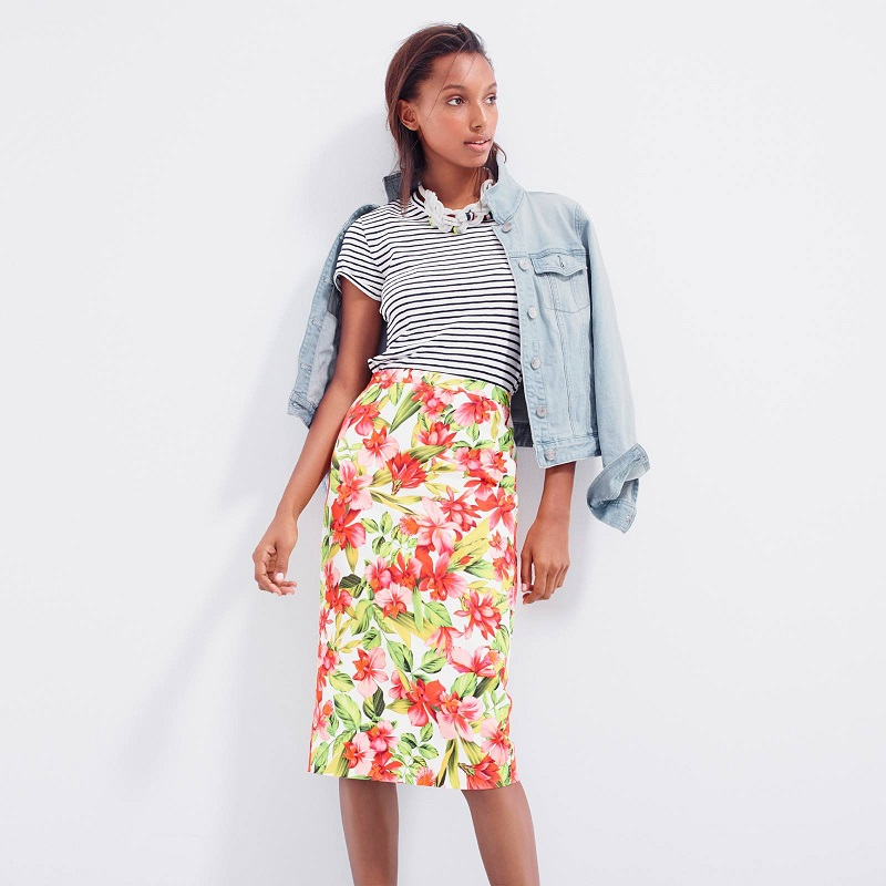 J. Crew Collection Hibiscus Pencil Skirt