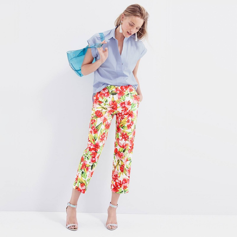 J.Crew Collection Cropped Patio Trouser in Hibiscus