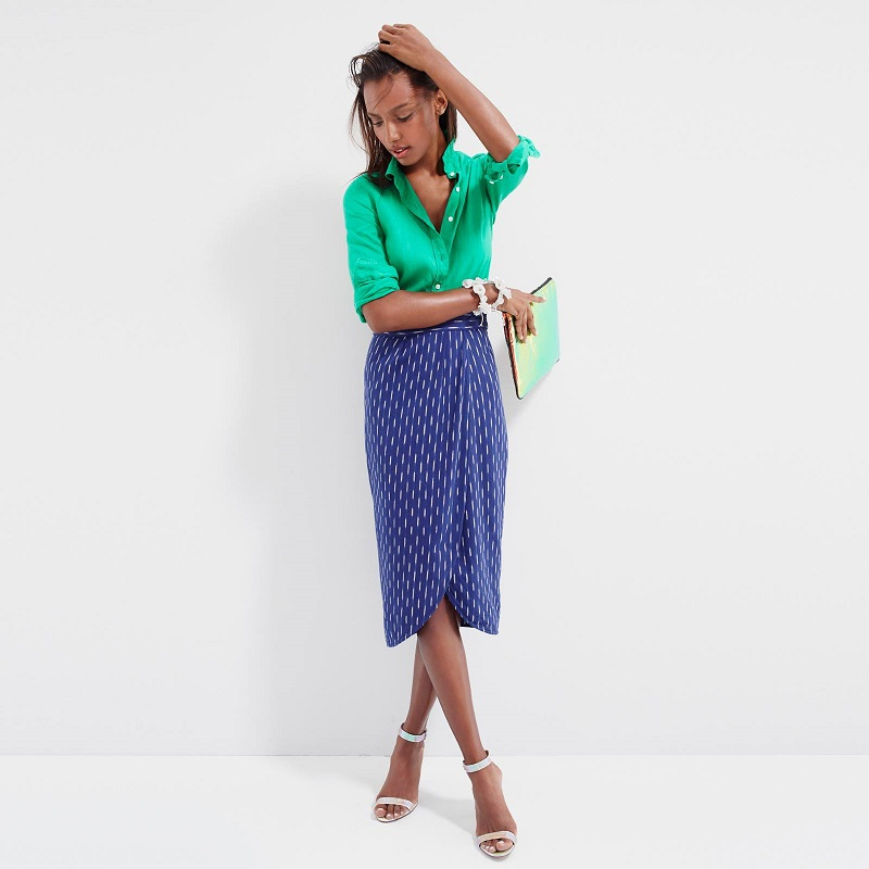 J.Crew Tulip faux-wrap skirt in indigo ikat