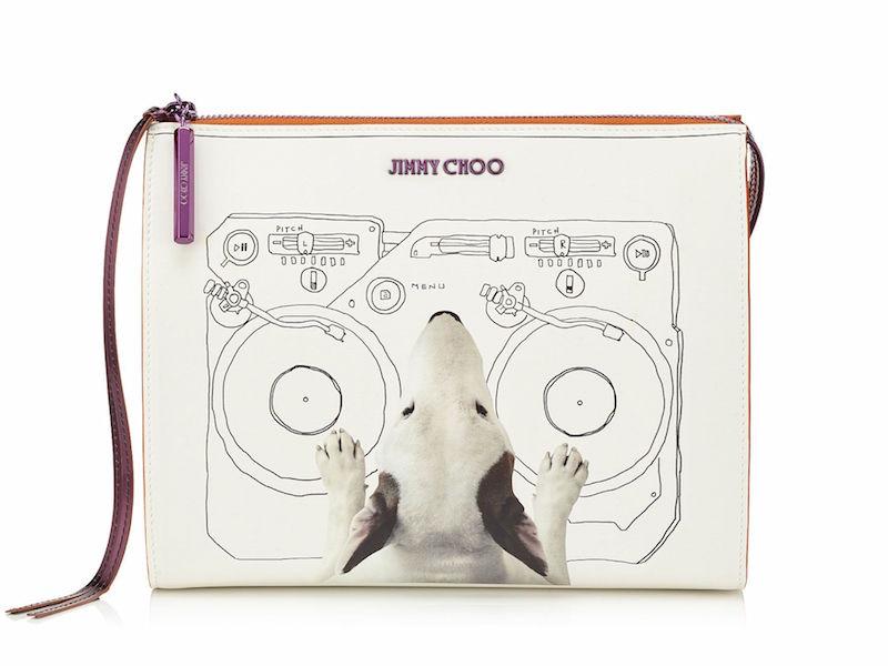 JIMMY CHOO Nicole Decks on White Printed Coated Canvas with Raspberry Mirror Leather Wash Bag