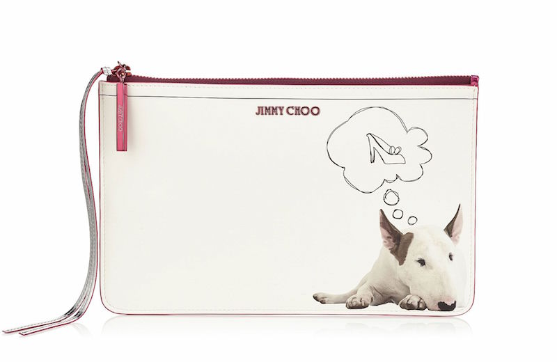 JIMMY CHOO Nina Daydream on White Printed Coated Canvas and Raspberry Mirror Leather Pouch
