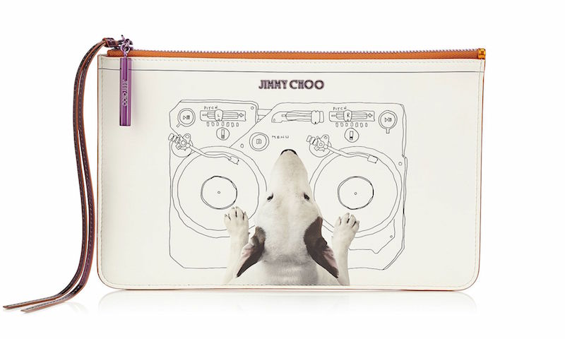 JIMMY CHOO Nina Decks on White Printed Coated Canvas and Tangerine Mirror Leather Pouch
