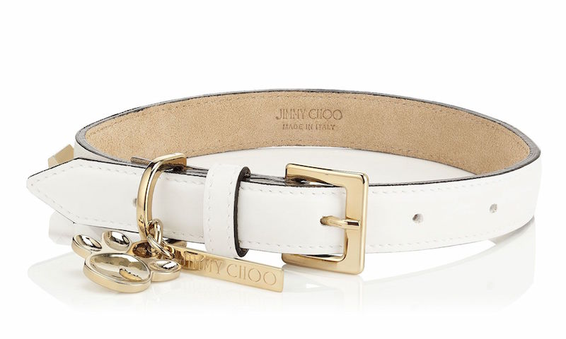 JIMMY CHOO Otis White Coated Canvas Leather Dog Collar with Gold Cube Studs
