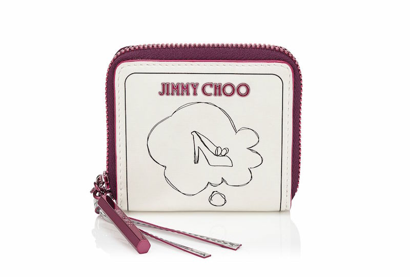 JIMMY CHOO Penny Daydream on White Printed Coated Canvas Wallet with Raspberry Mirror Leather