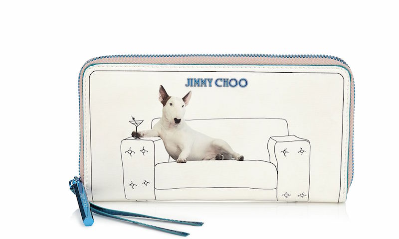 JIMMY CHOO Pippa Martini on White Printed Coated Canvas and Turquoise Mirror Leather Zip Around Wallet