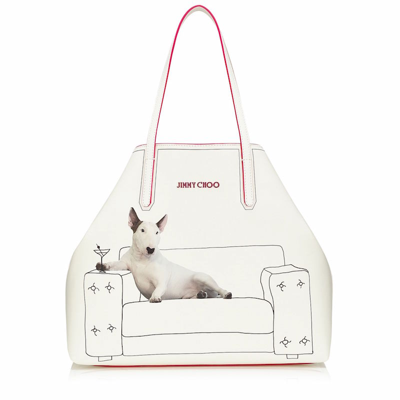 JIMMY CHOO Sara Martini on White Printed Coated Canvas Tote Bag with Mirror Leather Interior Pouch
