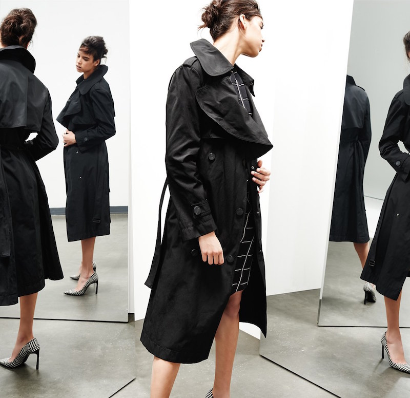 Lanvin Double Breasted Taffeta Trench Coat