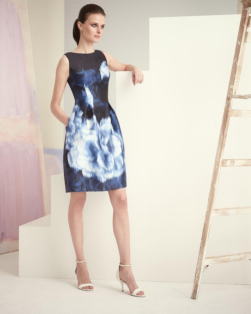 Lela Rose Floral Ikat-Print Bell-Skirt Dress